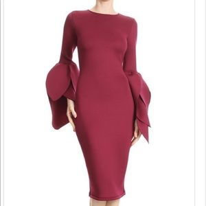 BEAUTIFUL LEAVES SLEEVES DRESS IN BURGUNDY L